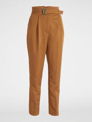 Pantalon cigarette avec ceinture coordon camel femme
