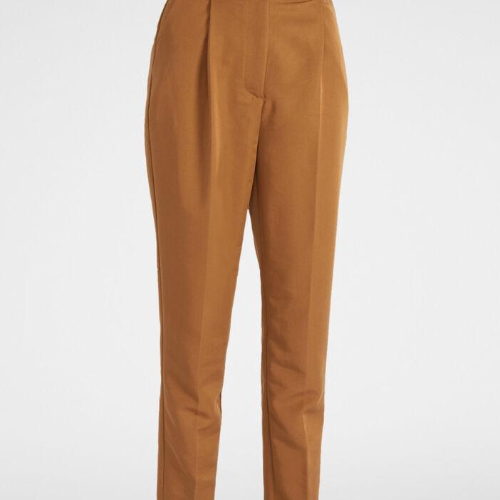 Pantalon cigarette avec ceinture coordon femme camel