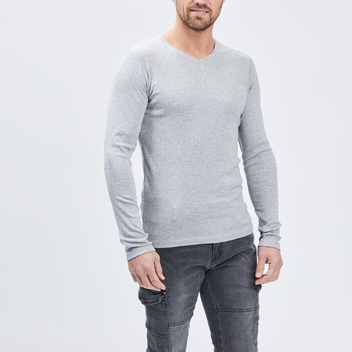 T-shirt manches longues homme gris