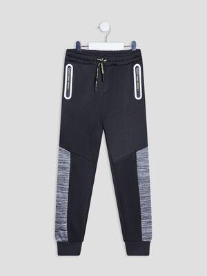 Jogging droit bandes laterales gris fonce garcon
