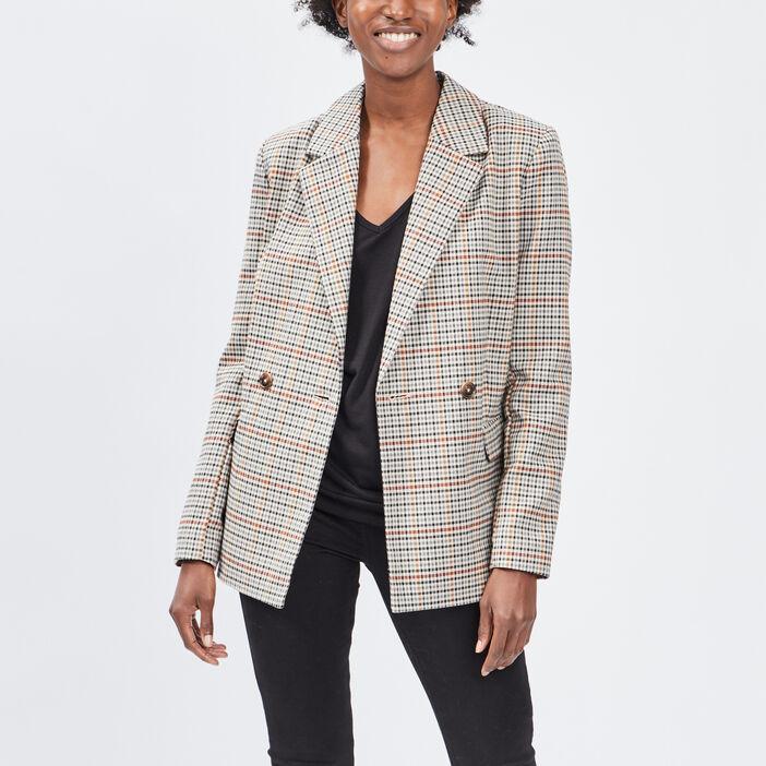 Veste droite boutonnée femme multicolore