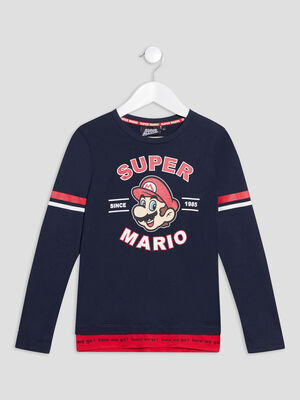 T shirt manches longues Mario bleu marine garcon