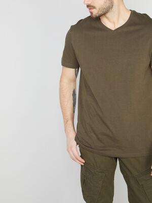 T shirt col V en coton vert kaki homme