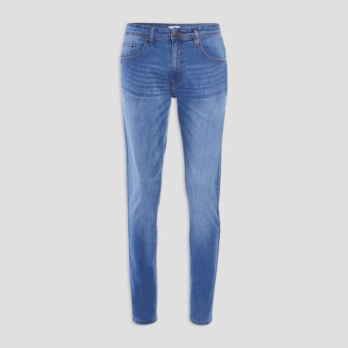 Jeans slim effet usé homme denim double stone