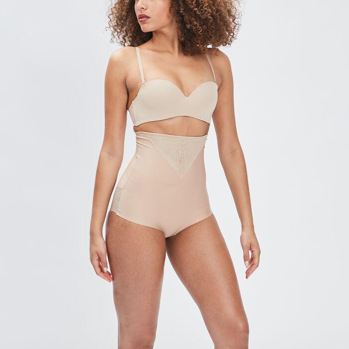 Culotte taille haute gainante microfibre femme beige