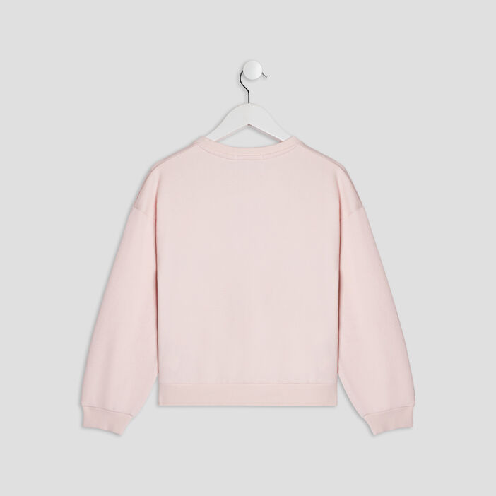 Sweat avec sequins fille rose
