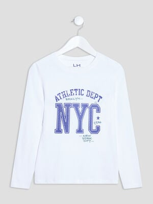 T shirt manches longues blanc garcon