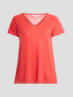 T shirt grande taille rouge femme
