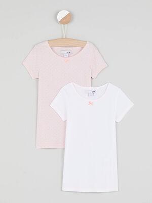 Lot de 2 t shirts basiques rose clair fille