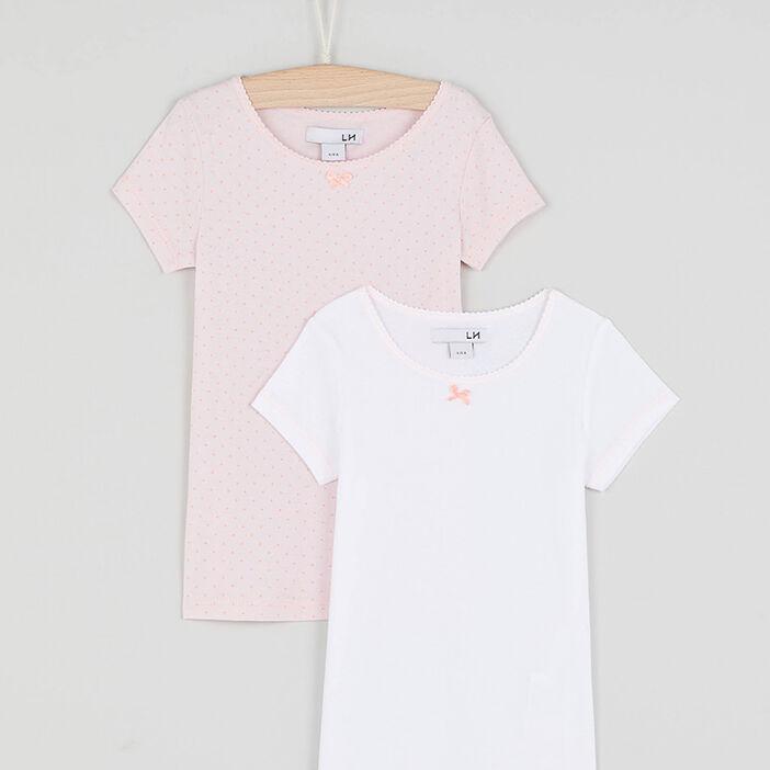 Lot de 2 t-shirts basiques fille rose clair