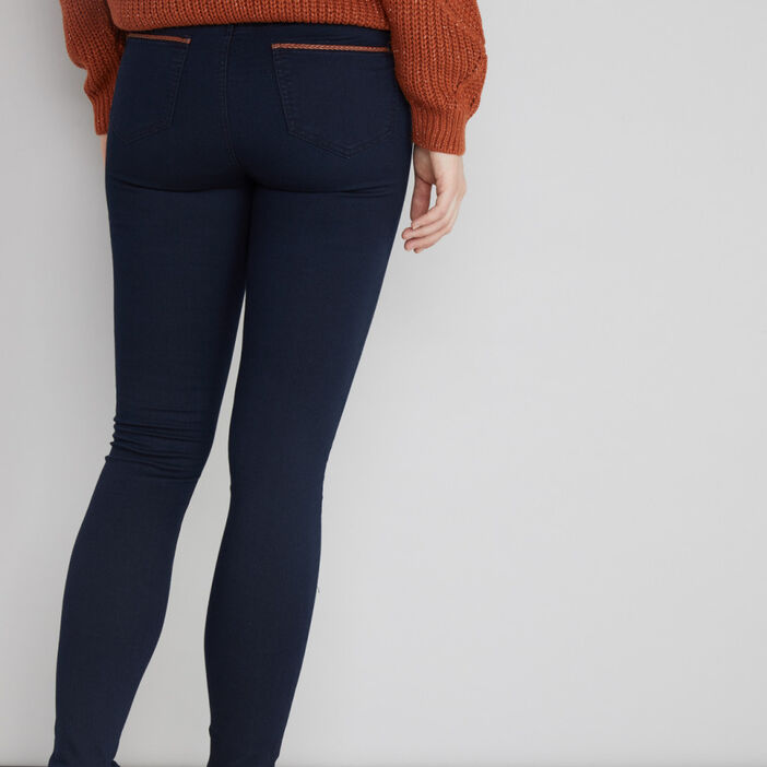 Pantalon coupe slim poches gansées femme denim brut