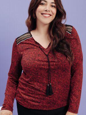 T shirt manches longues rouge femmegt