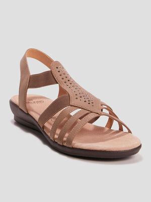 Sandales compensees couleur bronze femme