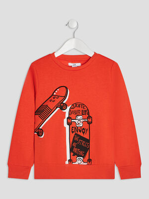 Sweat a col rond orange garcon
