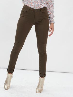 Pantalon skinny taille basse vert kaki femme