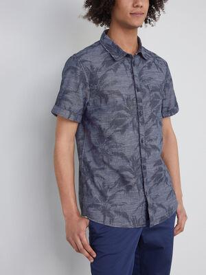 Chemise ajustee en coton palmiers bleu homme