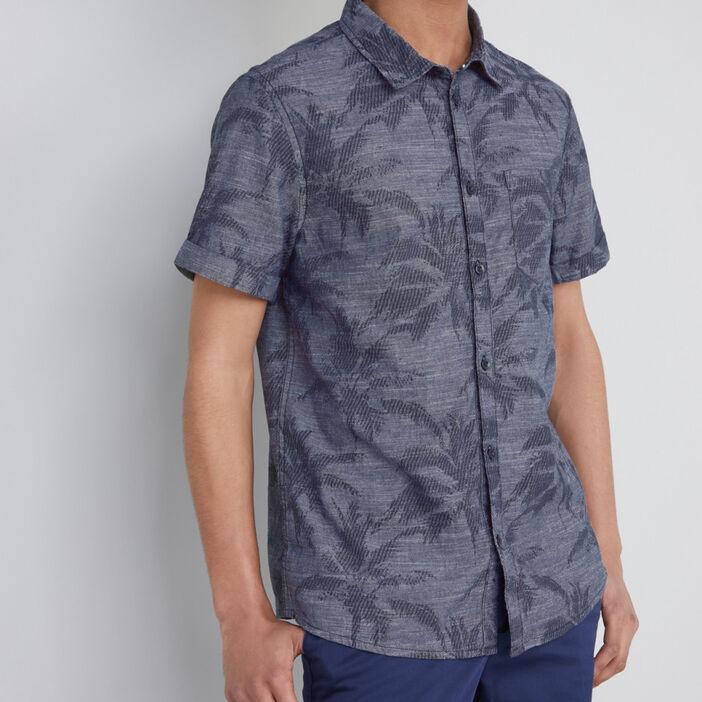 Chemise ajustée en coton palmiers homme bleu