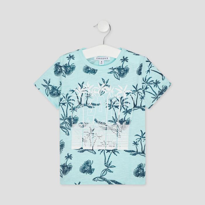 T-shirt manches courtes Creeks garçon bleu turquoise