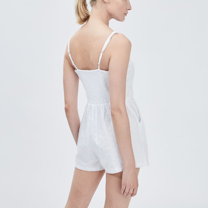 Combishort broderie anglaise femme blanc