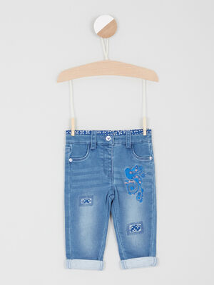 Jean slim broderies coton denim double stone fille