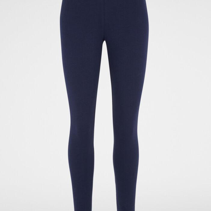 Legging long uni femme bleu marine