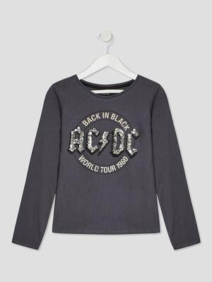 T shirt ACDC gris fille