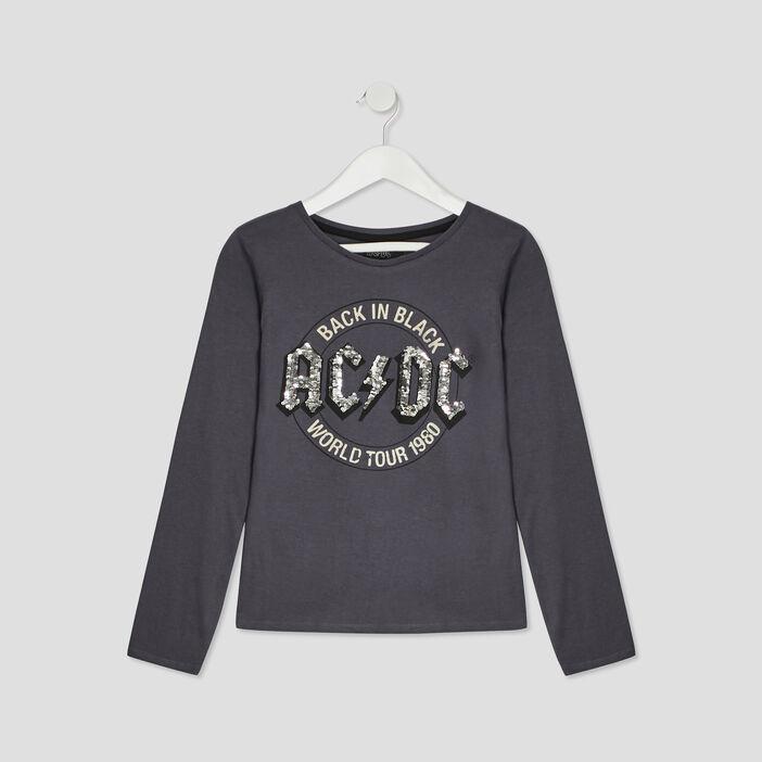 T-shirt AC/DC fille gris