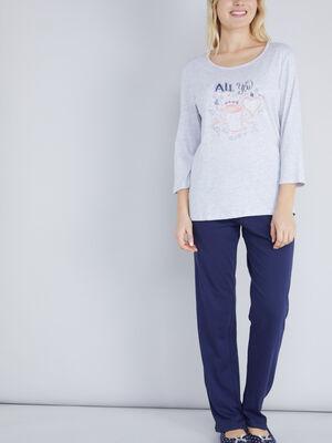 Haut pyjama 100 coton gris femm