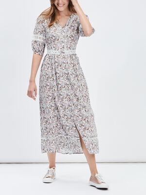 Robe longue droite bordeaux femme
