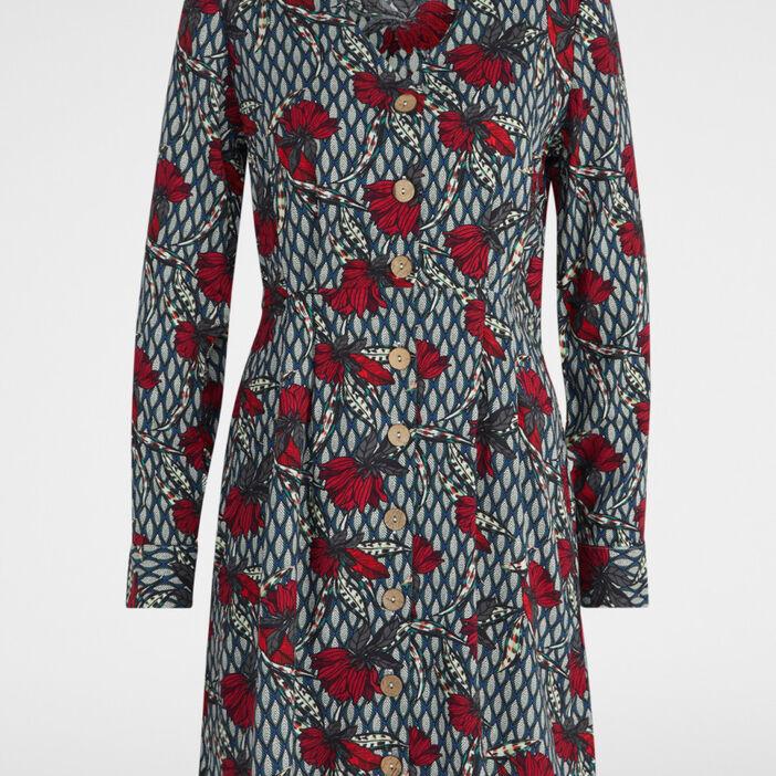 Robe évasée imprimée col V femme multicolore