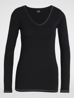T shirt uni lisere contrastant noir femme