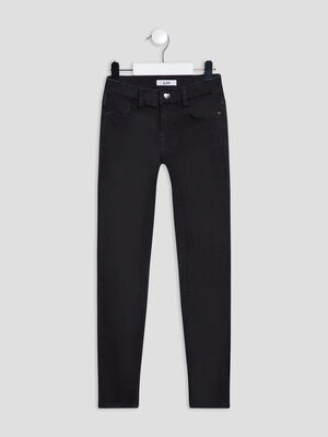 Jeans skinny taille ajustable noir fille