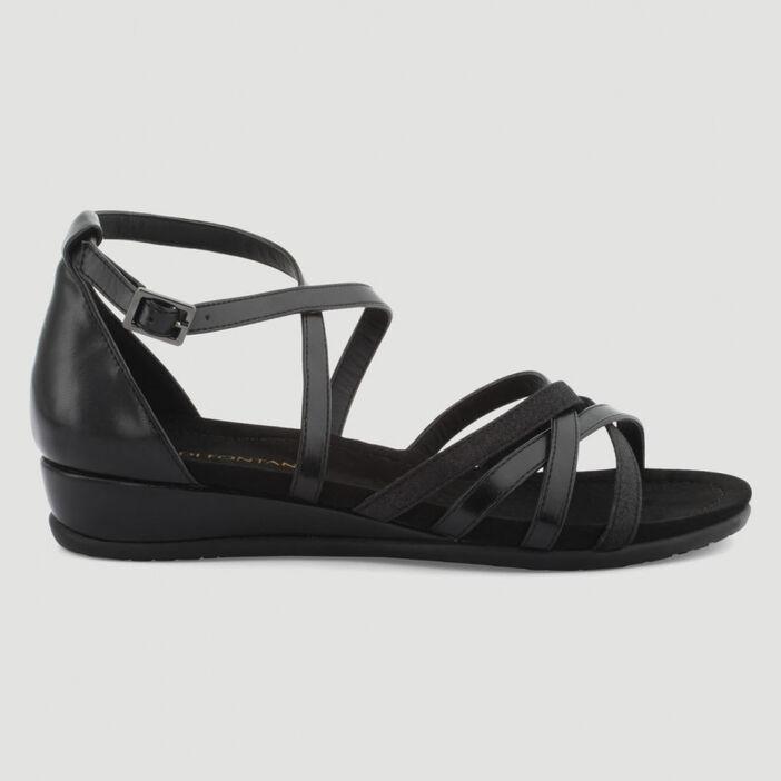 Sandales talon fermé femme noir