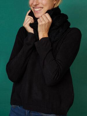 Tour de cou maille metallisee noir femme