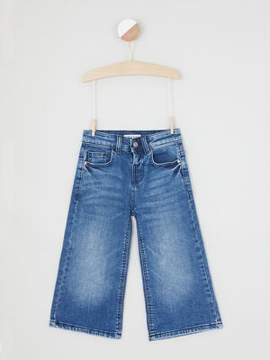 Jean uni coupe evasee denim stone fille