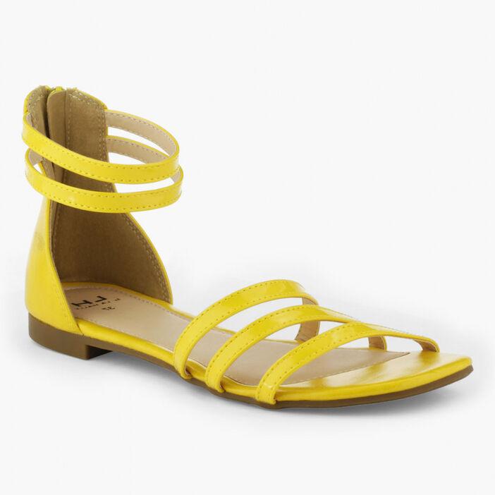 Sandales talon couvert zippé femme jaune