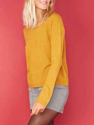 Pull col roulotte toucher cachemire jaune moutarde femme