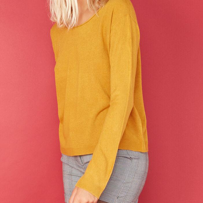 Pull col roulotté toucher cachemire femme jaune moutarde