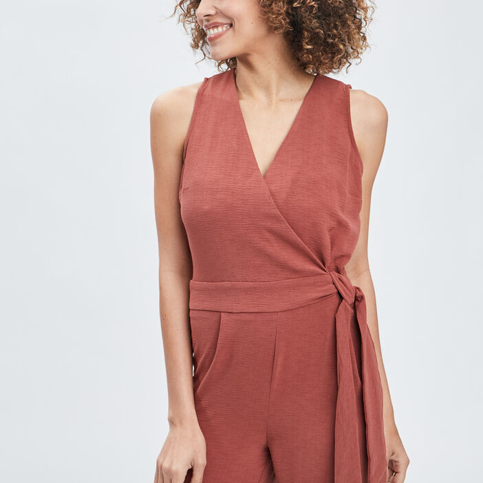 Combinaison pantalon femme terracotta
