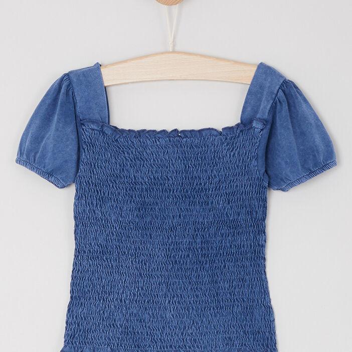 T-shirt smocké en coton denim fille bleu
