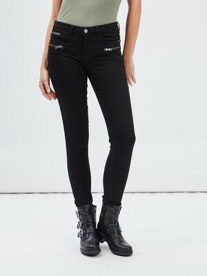 Pantalon skinny details zippes noir femme