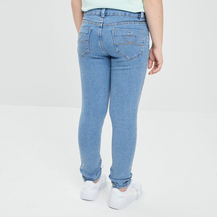 Jeans skinny effet délavé fille denim double stone