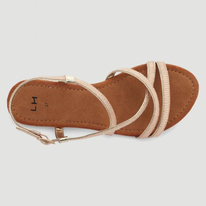 Sandales fines brides effet serpent femme beige