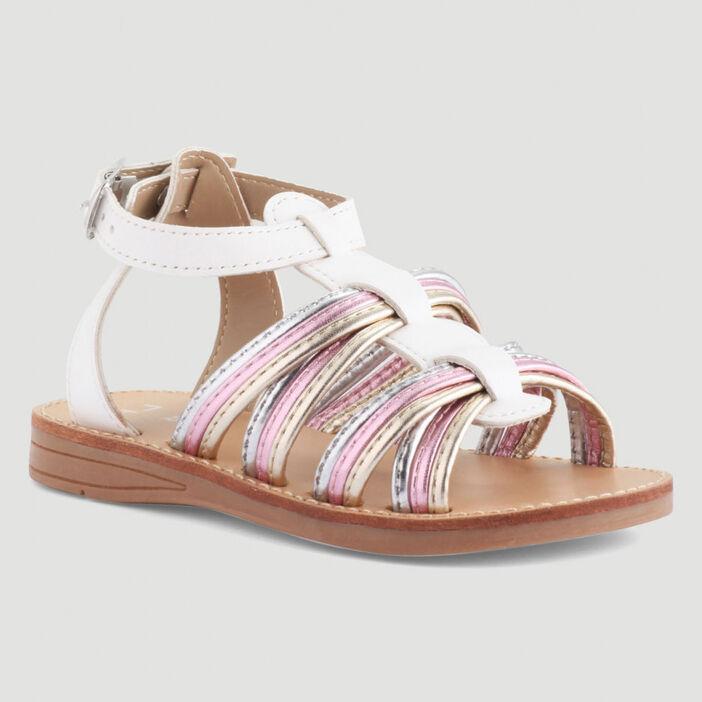 Sandales à lanières irisées fille blanc