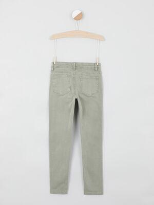 Pantalon skinny uni vert kaki fille