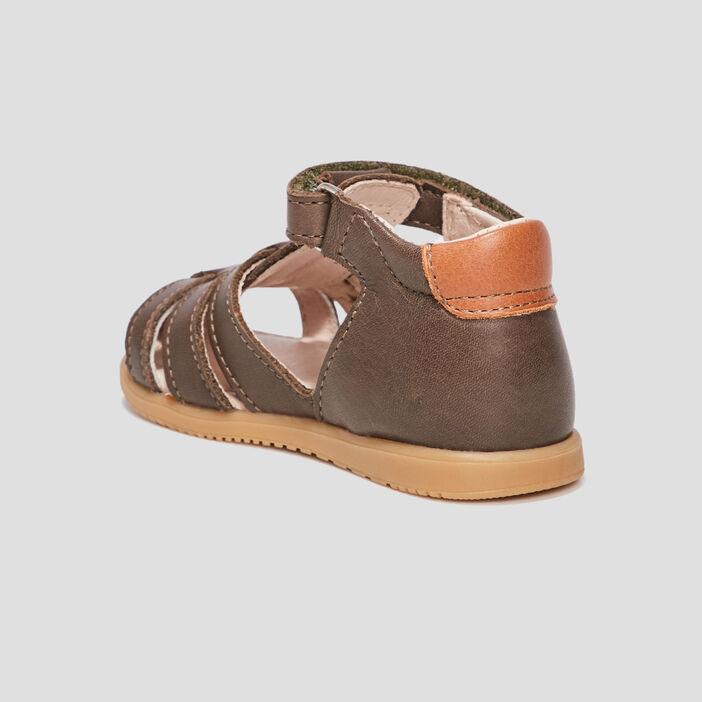 Sandales en cuir bébé garçon vert kaki