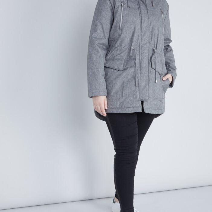 Parka asymétrique fourrure amovible femme gris