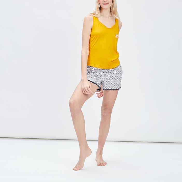 Ensemble pyjama 2 pièces femme jaune moutarde