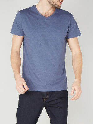 T shirt col V en coton bleu homme