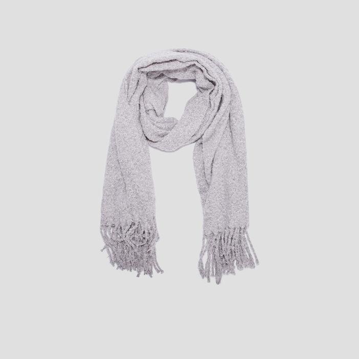 Écharpe avec franges femme gris